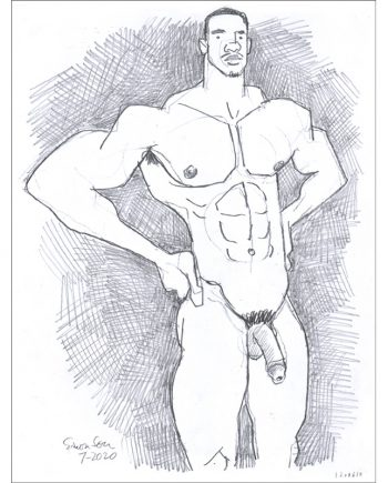 Muscular Black Male Nude with Hands on Hips