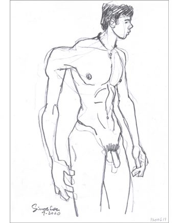 Expressionist Nude Twink Looking to Right