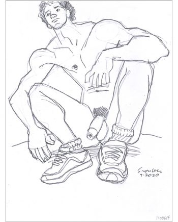 Seated Young Nude Male in Running Shoes