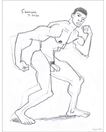 Young Black Male Nude in Muscleman Pose