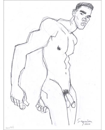 Standing Male Nude Swinging Arms Back
