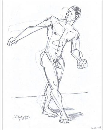 Male Nude in Twisting Pose