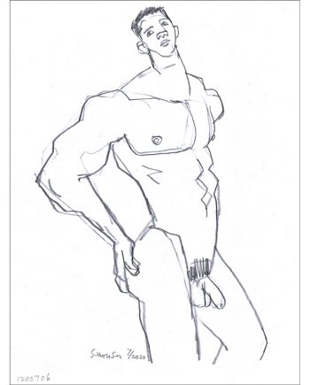 Standing Male Nude with Hands on Butt